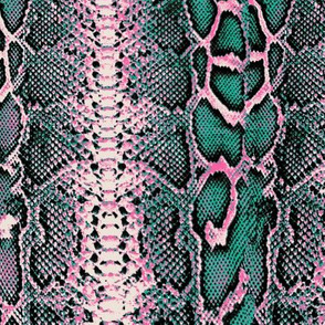 snakeskin emerald green and pink