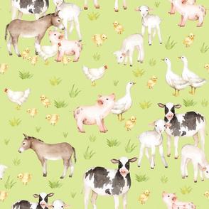 "18"" farm animal friends on white, animal nursery fabric, baby animals fabric, on green"