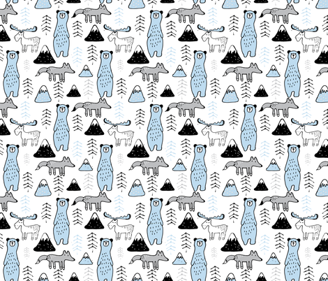 mono mountain - sky blue and grey fabric by gemmacosgroveball on Spoonflower - custom fabric