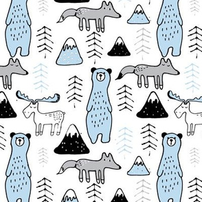 mono mountain - sky blue and grey