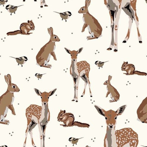 Woodland animals on cream - small