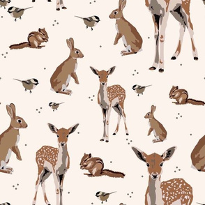 Woodland animals on light pink - small