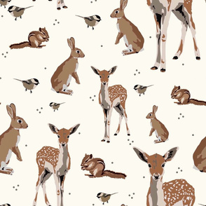 Woodland animals on cream