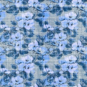 faux linen blue rose vintage