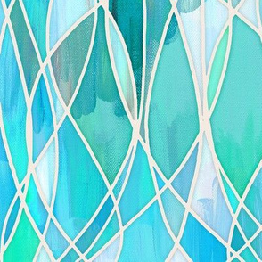 Teal, Aqua & Mint Green Abstract Painting with texture