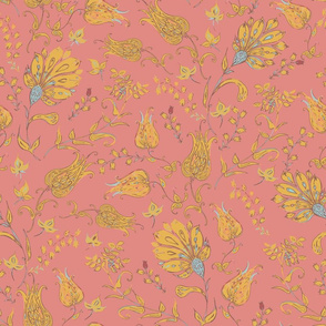 Bohemian Floral Patterns of Paradise Coral & Yellow