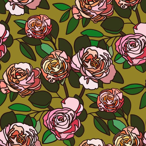 Stained glass roses on green