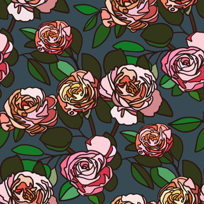 Stained glass roses on midnight blue