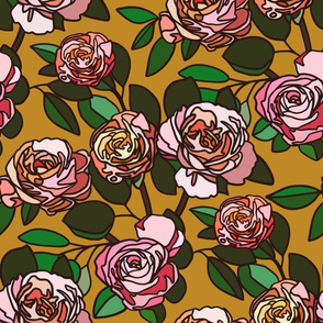 Stained glass roses on mustard