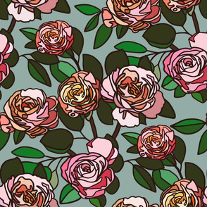 Stained glass roses on blue