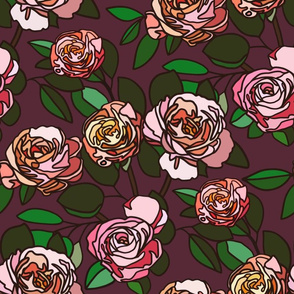 Stained glass roses on maroon