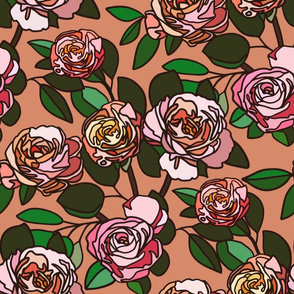 Stained glass roses on coral