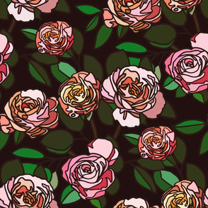 Stained glass roses on black