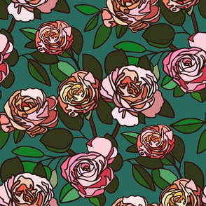 Stained glass roses on teal