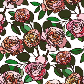 Stained glass roses on white