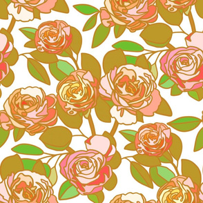 Stained glass roses in pink and ochre