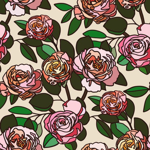 Stained glass roses on nude