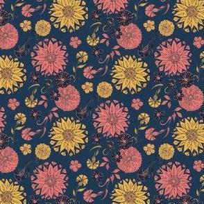 Boho Mini Florals Coral & Blue