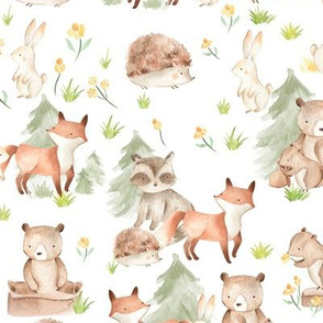"18"" Woodland Animals - Baby Animals in Forest,woodland nursery fabric,animal nursery fabric,baby animals fabric white"