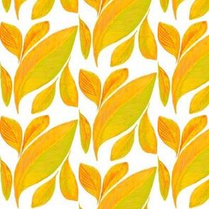Drifting Golden Leaves on White  - Medium Scale