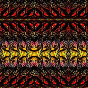 Curvilinear black, red and yellow