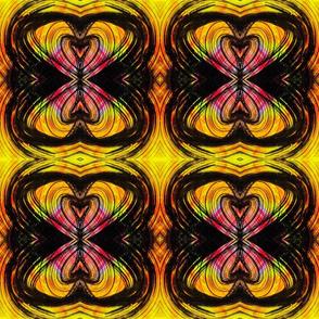 Yellow, black curvilinear hearts