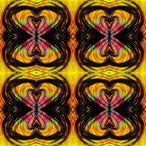 Yellow reflected linear design, like flowers, bows or butterflies.