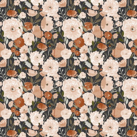 Poppy-copper-Garden A fabric by indybloomdesign on Spoonflower - custom fabric
