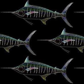 Blue Marlin in lines on black