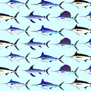 5 billfish on light blue background