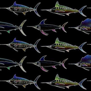 5 billfish in lines and edges