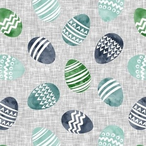 Easter eggs - watercolor multi eggs blue and green on grey toss C19BS