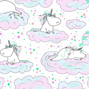 the lazy unicorn in pastels