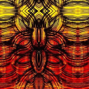 Red to yellow linear feather leaf design