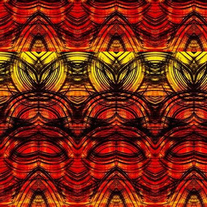 Arches feather leaf linear design in red to yellow