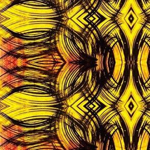 Black on yellow curvilinear design