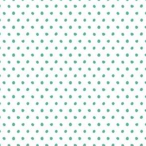 aqua green dots on white