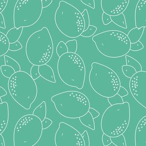 white lemons on aqua green