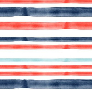 red and blue 2 watercolor stripes - LAD19