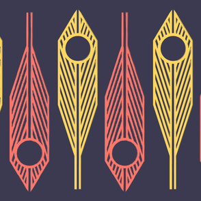 Geometric Coral and Gold Feather Pattern