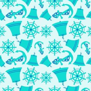 Nautical Print Assorted(wheel.bell.anchor) blue
