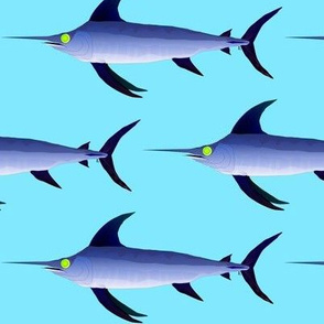 Swordfish on light blue