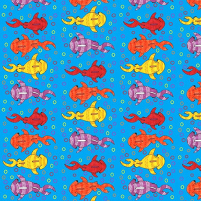 tropical colored tribal hammerheads