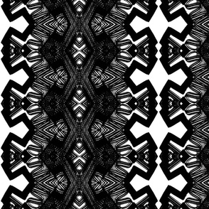 Black and white angular shapes like lace