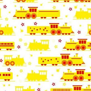 happy yellow trains