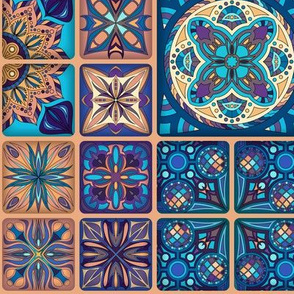 Aqua Copper Mandala Pattern