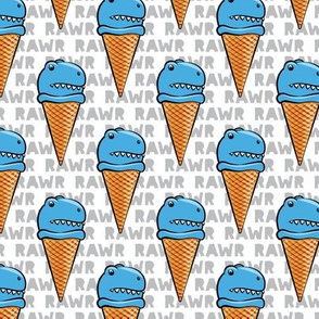 trex ice cream cones - dinosaur icecream - RAWR (blue) - C19BS