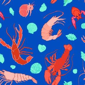 Dance of the Crustaceans in Ocean Blue