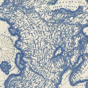 Map North Pole Indigo Linen
