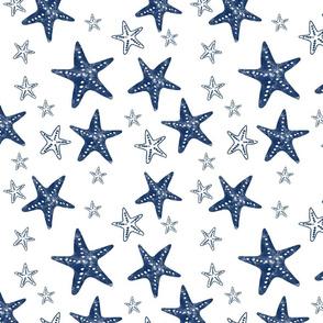 White and blue starfish